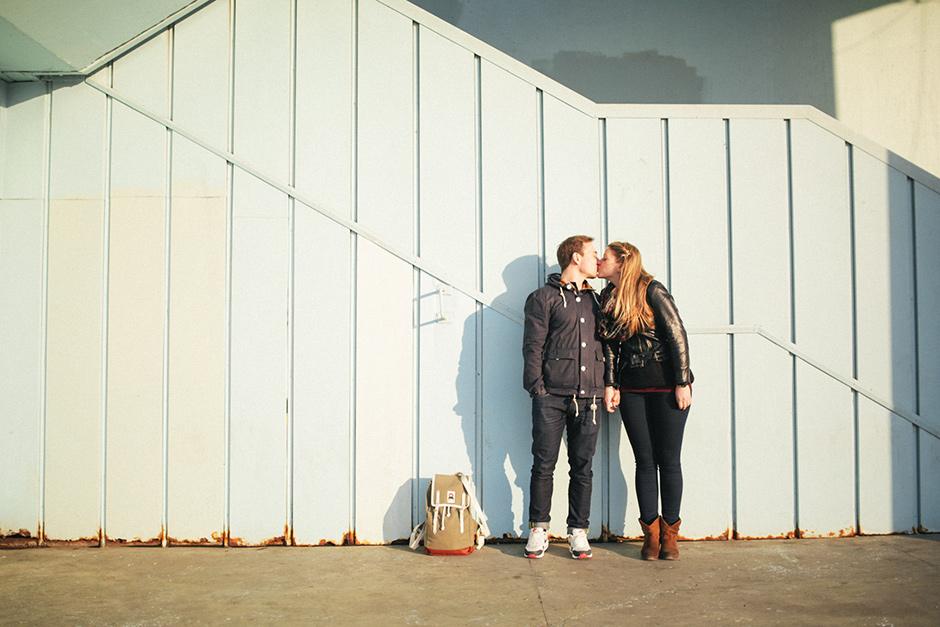 Lovers Kissing by Galata Bridge in Istanbul