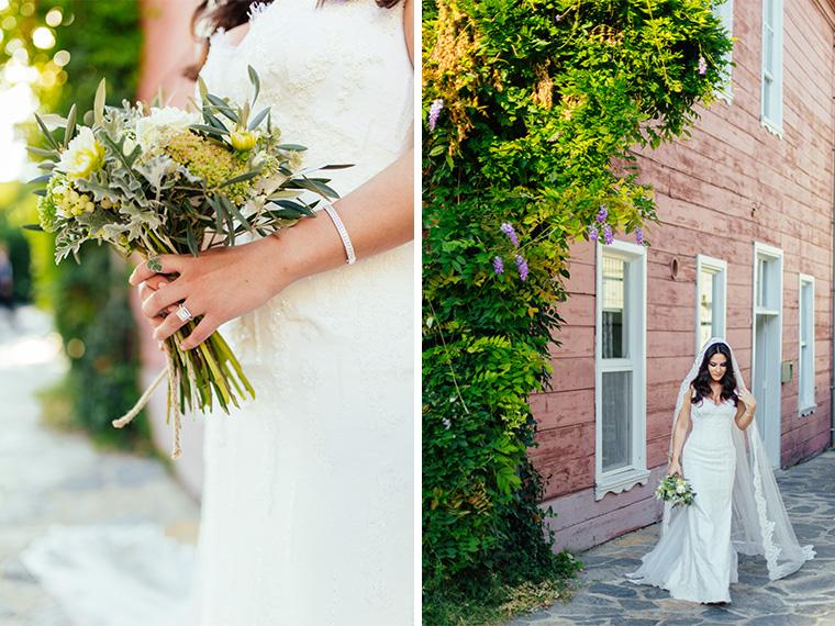 Bride is in the garden